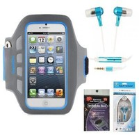 Amazon.com: iPhone 5 Belkin Teal and Blue Armband Exercise Case and Matching Set of Stereo Earbuds. Comes with Radiation Shield.: Cell Phones & Accessories