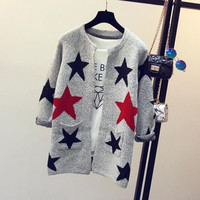 Star Printed Cardigan Sweater Long Design Knitted Sweater Lady Women Sweater Cardigans Casual Warm SM6
