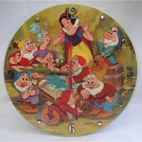 SNOW WHITE And the Seven Dwarfs Walt Disney -  Recycled Record Wall Clock - Picture Disc