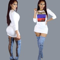 White Color Block Monogram Print Round Neck Club Bodycon Mini Dress