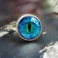 Cat Eye Ring Silver Glass Art Ring Picture Ring Art Ring Handcrafted Jewelry by Lizabettas