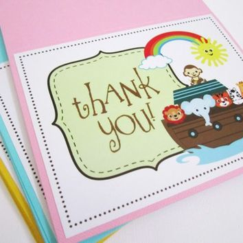 Noah's Ark Thank You Cards for Baby Shower or Birthday Party