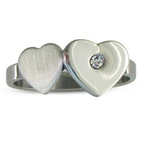 Cute Ladies Stainlesss Steel and CZ Heart Ring, Ring Sizes 4 to 9