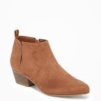 Sueded Ankle Boots for Women |old-navy