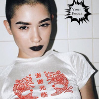 2016 harajuku punk unif omighty sexy street style red Chinese letters welcome and carp printed cropped white velvet crop tops