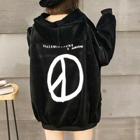 """Peaceminusone"" Women Casual Loose Fashion Velvet Letter Pattern Print Hooded Long Sleeve Pullover Sweater Tops"