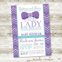"""Buttons and Bows, Ten Fingers and Toes, Little Lady Bows and Chevrons Girl Baby Shower Printable Invitation in Lavender and Aqua - 5"""" x 7"""""""