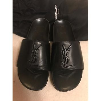 """YSL"" Popular Women Leisure Beach Home Non-Slip Slipper Sandals Shoes Black I11922-1"