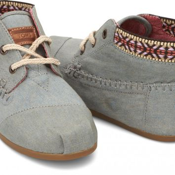 TOMS Shoes Chambray Trim Tribal Boots Women's Lace-up Shoes,