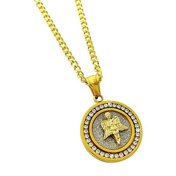 Pave Angel Necklace Embellished with Crystals in 18K Gold Plated