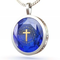 Christian Jewelry for women - Cross Pendant in 925 Silver Inscribed in 24K Gold with Mark 10:21 on Blue Cubic Zirconia - Religious Jewelry Gifts