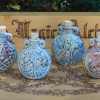 Old World Magick . PAGAN WICCA Raku Potion Bottles for Spell Oils, Incense, Diffuser, Ashes, Pendant . Your Choice