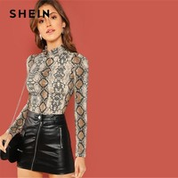 SHEIN Night Out Multicolor Mock Neck Grid Fitted Stand Collar Long Sleeve T-shirt Autumn Office Lady Casual Women Tshirt Top
