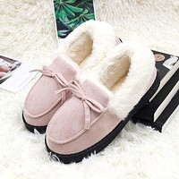 Slippers Women Winter Shoes Bowtie Plush Warm Inside Casual Loafers Ladies Indoor Home Slippers Pantuflas Ladies Slip On Shoes