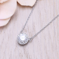 925 sterling silver cubic zirconia cz  round / full moon pendant necklace