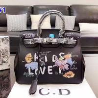 Bvlgari fashion hot seller lady casual graffiti print shopping shoulder bag
