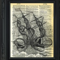 """Dictionary Art Print - Kraken attacking Boat - Printed on Recycled Vintage Dictionary Paper - 8.5""""x11"""" - Mixed Media Poster on Vintage Dictionary Page"""