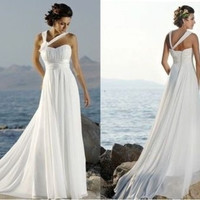 New White/ Ivory Women's Chiffon Dress Beach Dress Bridal Gowns Wedding Dresses Size 2 4 6 8 10 12 14 16 = 1932439620