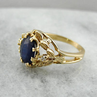 Vintage Sapphire Ring, Botanical Wreath Setting, Blue Sapphire Cocktail Ring U0DUUU-D