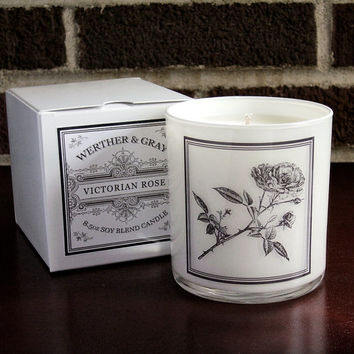 VICTORIAN ROSE Candle with Box, 9oz Tumbler, White Lantern Series, Werther + Gray, Rose Label, Vintage Style Soy Blend Scented Candle