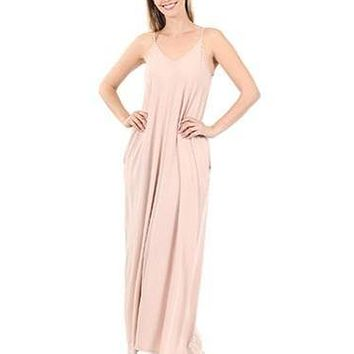 Cami Maxi Dress With Side Pockets in Dusty Blush