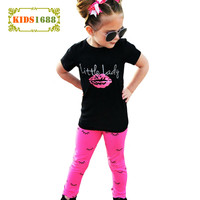 Girl Clothing Set Lips Girls Clothes 2017 Summer Black Short Sleeve T Shirts+Eyelash Leggings Pants 2pcs Kids Baby Clothing Sets