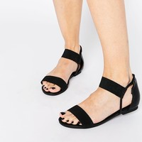 New Look Wide Fit Black Strap Flat Sandals