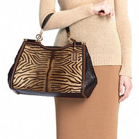 MADISON CAROLINE SATCHEL IN PRINTED TIGER HAIRCALF