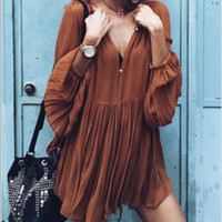 Loose Pleated Chiffon V-Neck Mini Dress