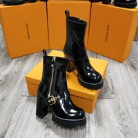 New Arrivals LV Louis Vuitton Women Leather Black Zipper heels Boots Fashion Casual Shoes 2020 knight boot Winter Best Quality