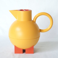 ALESSI 'Euclid' Thermos, Michael Graves for Alessi, Yellow and Orange, Pitcher, Hot Water Thermos, Memphis Inspired, 1990s Postmodern