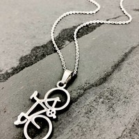 Shiny Silver Road Bike Necklace - Stainless Steel Bicycle Necklace