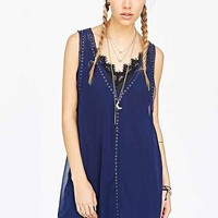 Pins And Needles Zoe Georgette Garment Tank Dress- Navy