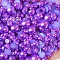 800 pieces Purple Mix Sizes flat back resin Pearl Cabochons