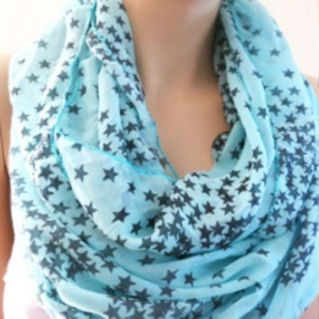 Blue and Black Star Scarf, Fashion Scarves with Stars on Them, Chunky Print Scarf