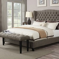 Faye collection 2 tone chocolate linen fabric tufted padded headboard footboard and rails queen size wing back bed set