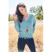 Essential Fringe Distressed Sweater - Dusty Blue