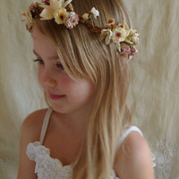 Ophelia Flower Crown... Free Size...whimsical wedding bride flower girl bridesmaid boho woodland fairy free people country tea party circlet