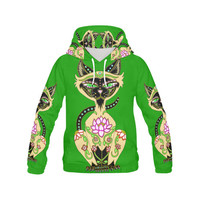 Siamese Cat Sugar Skull Green All Over Print Hoodie for Women (USA Size) (Model H13) | ID: D1439128