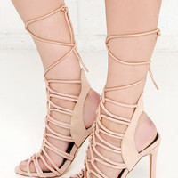 Laced to Know Nude Lace-Up Heels