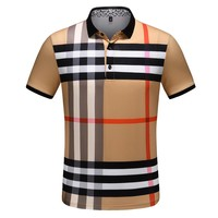 BURBERRY Fashiom Men Casual Classic Plaid Pattern T-Shirt Top Tee