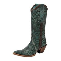 Corral Turquoise Engraved Lace-13 Top Cowgirl Boots