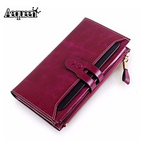 AEQUEEN Purse Female Original Leather Wallets Phone Pocket Purse For Ladies Cowhide Coin Purse Lady Long Purses Female Clutches