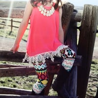 Neon Pink Lace Hem Tank - Ryleigh Rue Clothing by MVB