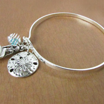 Silver Bangle Bracelet with Mermaid and Sand Dollar Charms