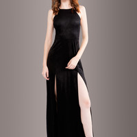 Magical Inspiration Black Faux Suede Maxi Dress