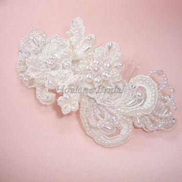 Bridal lace hair piece with comb