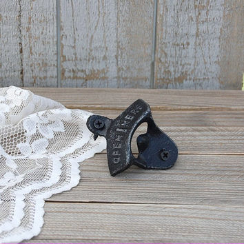 Cast Iron Bottle Opener, Wall Mounted, Shabby Chic, Black, Hand Painted, Metal, Distressed, Retro, Open Here