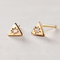 Diamond Mini Triangle Studs by Charlie and Marcelle Rose Gold All Earrings