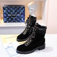 lv louis vuitton trending womens black leather side zip lace up ankle boots shoes high boots 241
